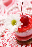 Sweet Fruit Red Cake With Cherry And White Camomi Royalty Free Stock Photography