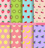 Sweet fruit seamless pattern set Stock Images