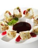 Sweet Fruit Sushi Rolls Royalty Free Stock Photography
