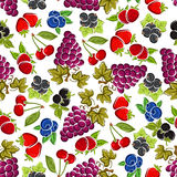 Sweet fruits and berries seamless pattern Royalty Free Stock Photo