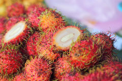 Sweet fruits rambutan in the market Stock Photography