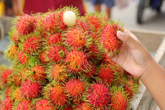 Sweet fruits rambutan in the market Royalty Free Stock Images