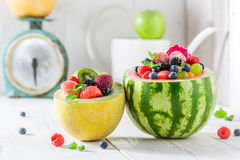Sweet fruits salad in watermelon and melon in summer day Royalty Free Stock Photography