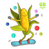 Sweet and fun corn rides on a snowboard Royalty Free Stock Photo