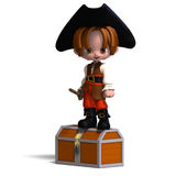 Sweet and funny cartoon pirate with hat. 3D Royalty Free Stock Images