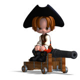 Sweet and funny cartoon pirate with hat. 3D Royalty Free Stock Image
