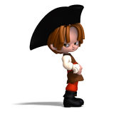 Sweet and funny cartoon pirate with hat. 3D Stock Photo