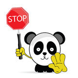 Sweet and funny panda with sign stop vector Stock Images