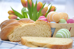 Sweet German Easter Bread. With Tulips and Easter Eggs Stock Image