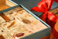 Sweet gift with nougat Royalty Free Stock Photography