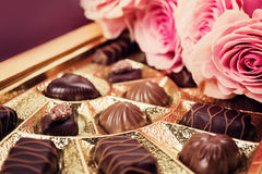 Sweet gift. Various chocolates  in box. Stock Photography