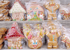 Sweet gingerbread for gift wrapping in cellophane Royalty Free Stock Photography