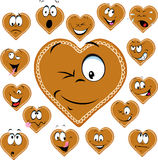 Sweet gingerbread heart with a happy face cartoon - vector Royalty Free Stock Photos