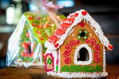Sweet gingerbread house is beautifully decorated Royalty Free Stock Images