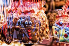Sweet Gingerbread on Night Christmas Market at Gendarmenmarkt in Winter Berlin, Germany. Advent Fair Decoration and Stalls with. Crafts Items on the Bazaar stock images