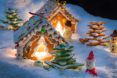 Sweet gingerbread village on Christmas Eve Royalty Free Stock Image