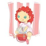 Sweet girl. Little girl eat sweet jam Stock Image