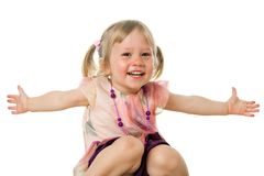 Sweet girl with arms open. Close up portrait of cute girl with arms open.isolated on white Stock Photo