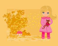 Sweet girl in autumn park Royalty Free Stock Photography