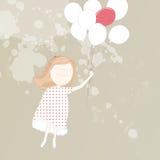 Sweet girl with balloons Stock Photos