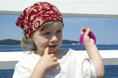 Sweet girl on a dock Royalty Free Stock Photography