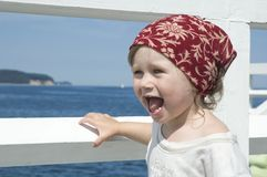 Sweet girl on a dock Royalty Free Stock Images