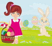 Sweet girl and  Easter Bunny Stock Images