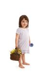 Sweet girl with flower basket Stock Photos