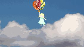 Sweet girl flying on balloons in the sky, animation stock footage