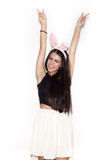 Sweet girl having fun on white background Royalty Free Stock Photos