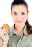 Sweet girl holding cake. Isolated on white background Stock Photos