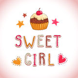 Sweet girl illustration Royalty Free Stock Images