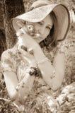 Sweet girl with little bunny Stock Photography