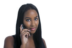 Sweet girl on mobile phone Royalty Free Stock Photography