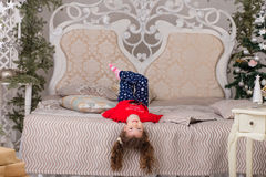 Sweet girl in pajamas getting ready for bed Royalty Free Stock Photography