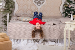 Sweet girl in pajamas getting ready for bed Royalty Free Stock Photo