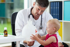 Sweet girl at pediatrician's office Royalty Free Stock Photography