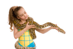 Sweet girl with pet python Royalty Free Stock Image