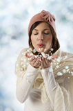Sweet girl pink hat and snow flakes Royalty Free Stock Photo
