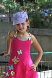 Sweet girl in a pink sarafan Royalty Free Stock Photos