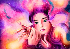 Sweet girl protects cancer represents. The zodiac sign Cancer. Painted watercolor Royalty Free Stock Photo