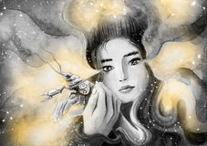 Sweet girl protects cancer represents. The zodiac sign Cancer. Painted watercolor Stock Photos