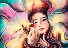 Sweet girl protects cancer represents. The zodiac sign Cancer. Painted watercolor Royalty Free Stock Photos