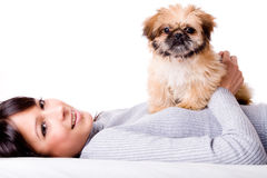 Sweet girl with puppy Royalty Free Stock Photos