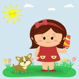 A sweet girl in a red dress and a bow holding ice cream. A Cogi puppy is sitting next to him. Glade with tulips, sun and royalty free illustration