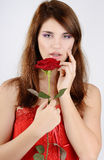 Sweet girl with rose Stock Photography