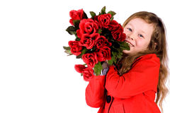 Sweet girl with roses. Sweet valentine girl with a lot of red roses Stock Photo
