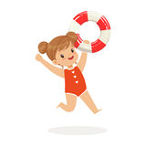 Sweet girl running with lifebuoy, kids summer vacation colorful character vector Illustration. On a white background Stock Image