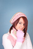 Sweet girl in scarf and cap Stock Photography