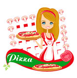 Sweet girl serving pizza Royalty Free Stock Photos